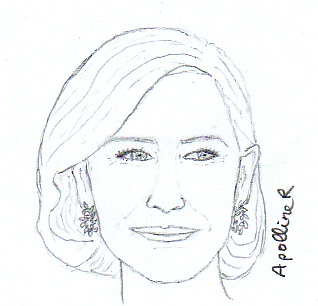 drawing of Cate Blanchett wearing Chopard ethical diamond earrings at the 2014 Golden Globes