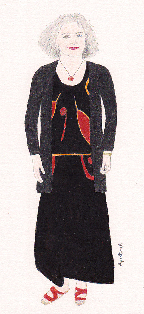 drawing of a black outfit that is made warmer by touches of orange to attend a wedding