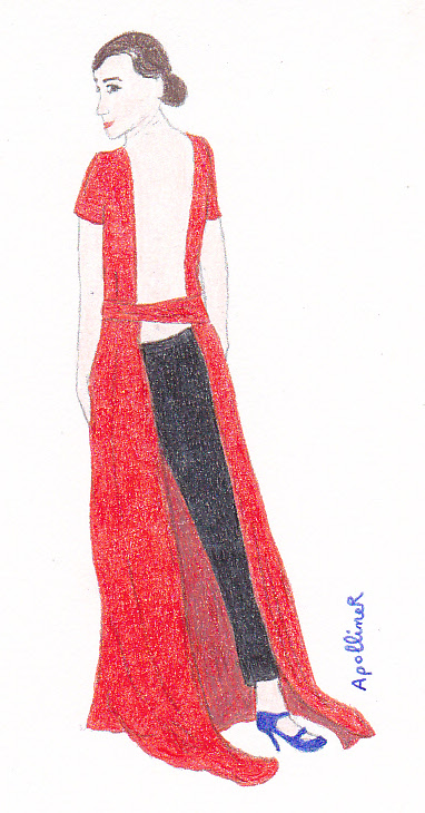drawing of Emma Watson wearing a Dior red long dress and black trousers at the 2014 Golden Globes