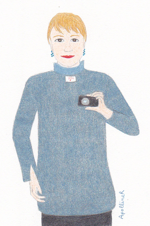 drawing of a woman wearing a shirt inside-out for Fashion Revolution Day