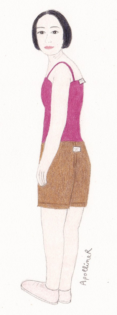drawing of a woman wearing a tank top and shorts inside-out for Fashion Revolution Day