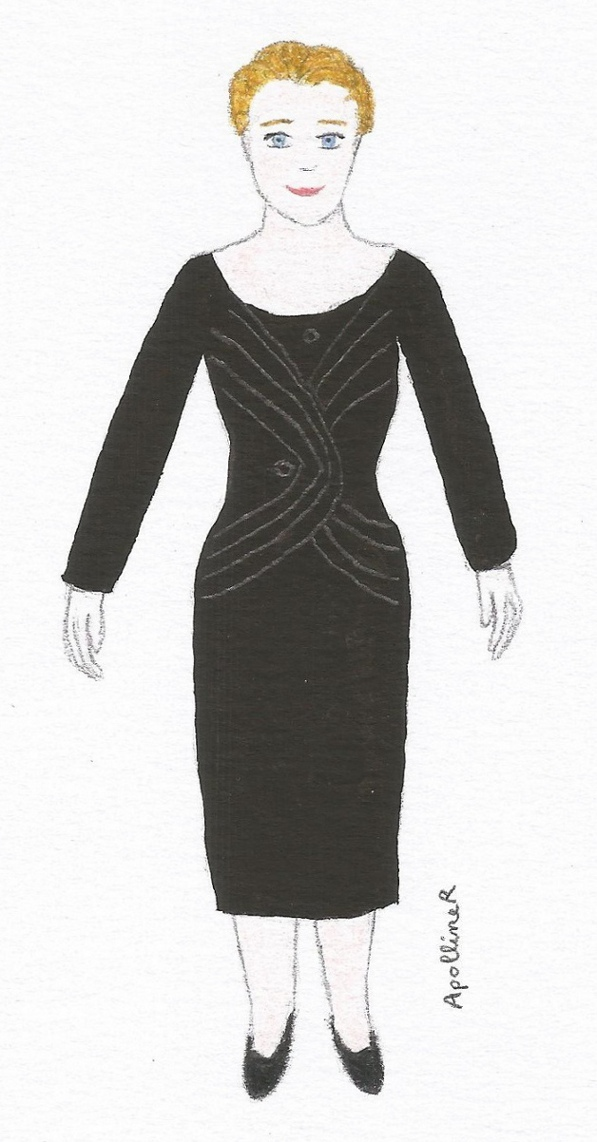 illustration af a black afternoon dress by Jacques Fath. 1954 Fall-Winter collection