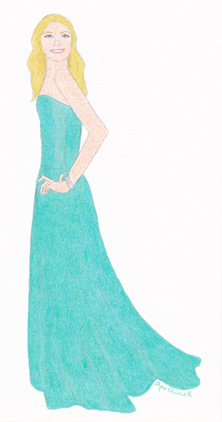 drawing of Gisele Bündchen wearing a hemp green Prophetik strapless gown at 2014 Rainforest Alliance gala