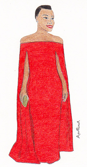 drawing of Lupita Nyong'O wearing a Ralph Lauren red off-the-shoulder cape dress at the 2014 Golden Globes