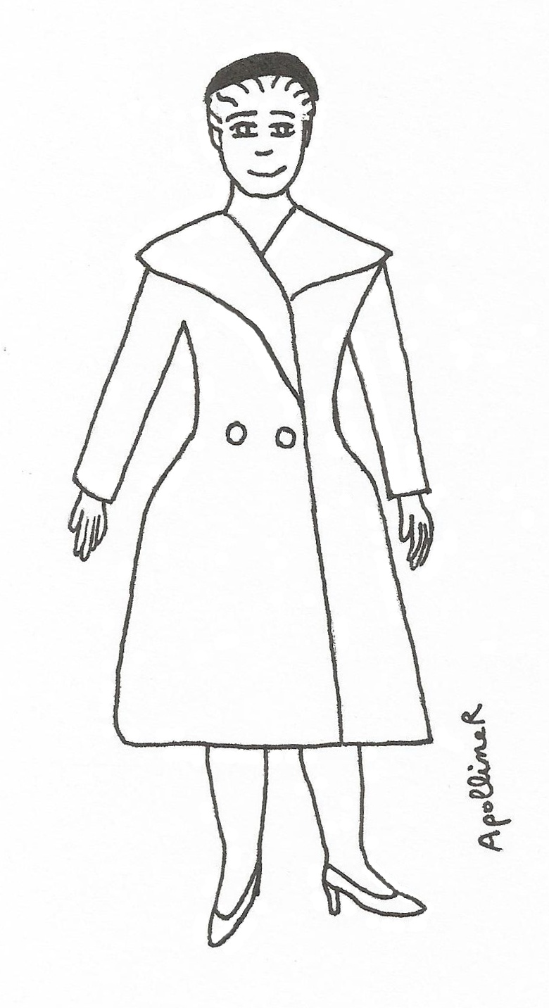 coloring picture of a woman wearing a New Look coat