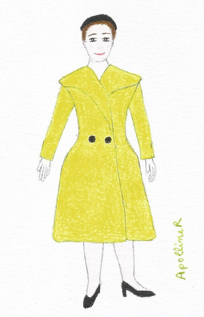 illustration of a fifties lime green coat by Madeleine Vramant