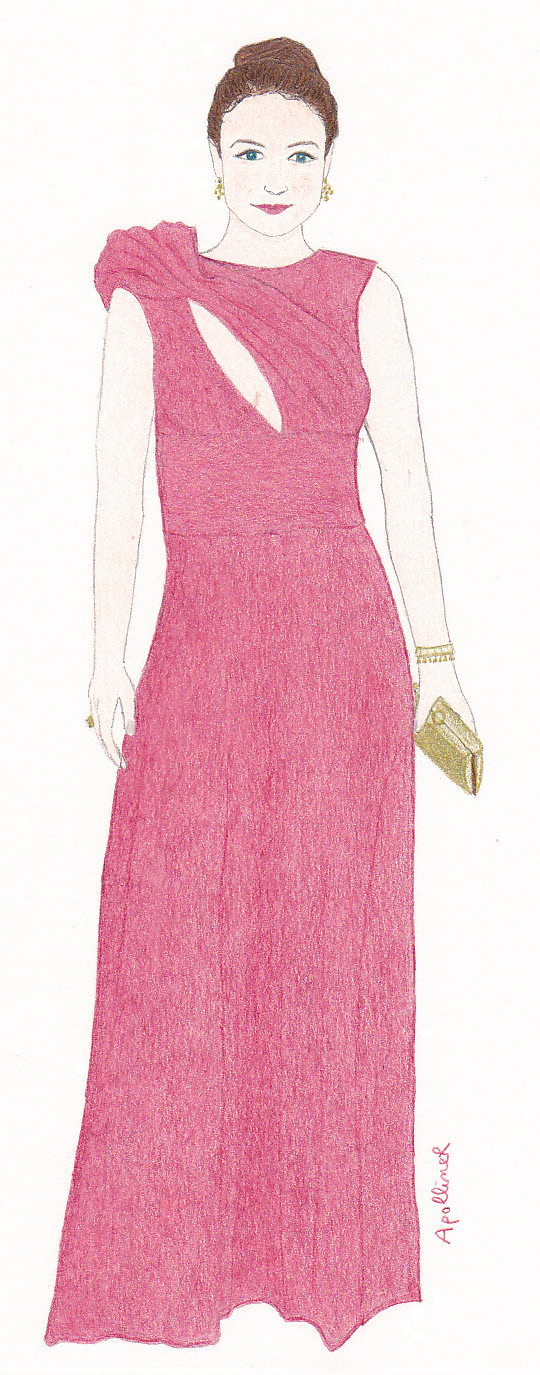 drawing of Olga Kurylenko wearing a pink eco-friendly long dress at the 2014 Academy Awards