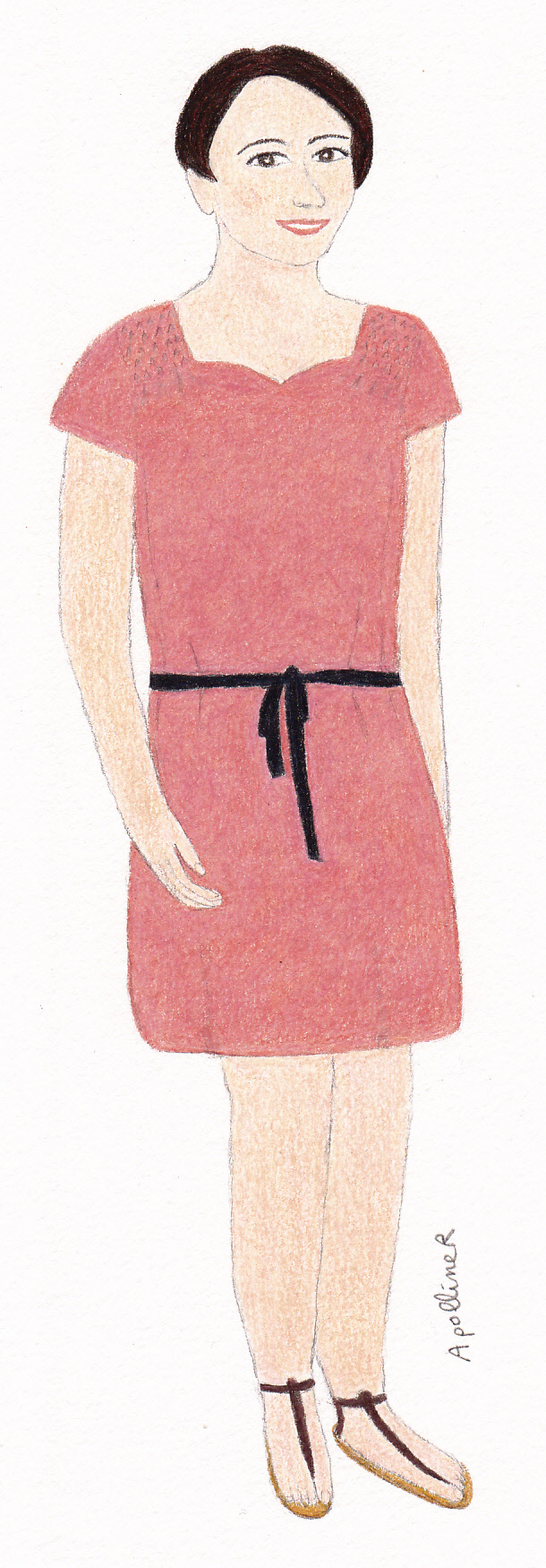 illustration of a woman wearing a coral silk dress with a black belt