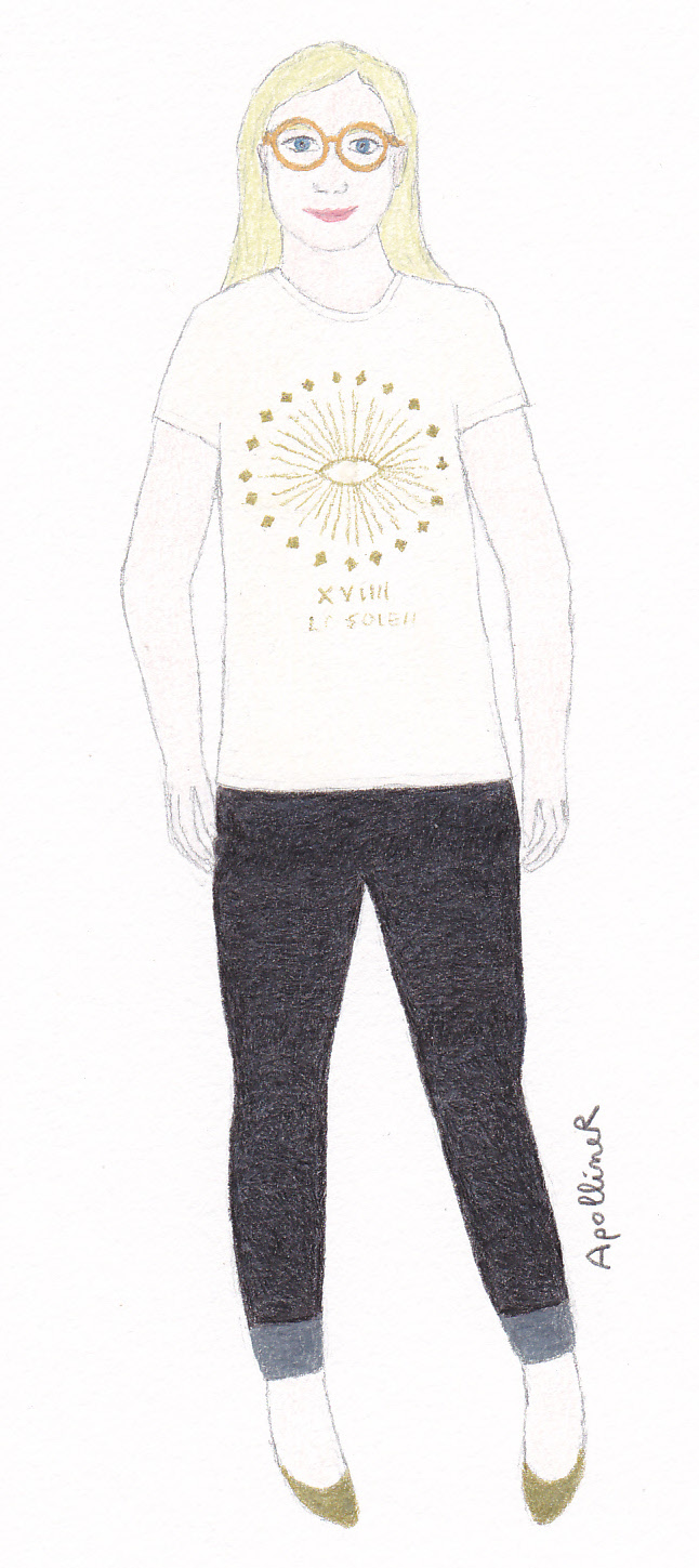 drawing of a woman wearing an organic made in France T-shirt and black leggings