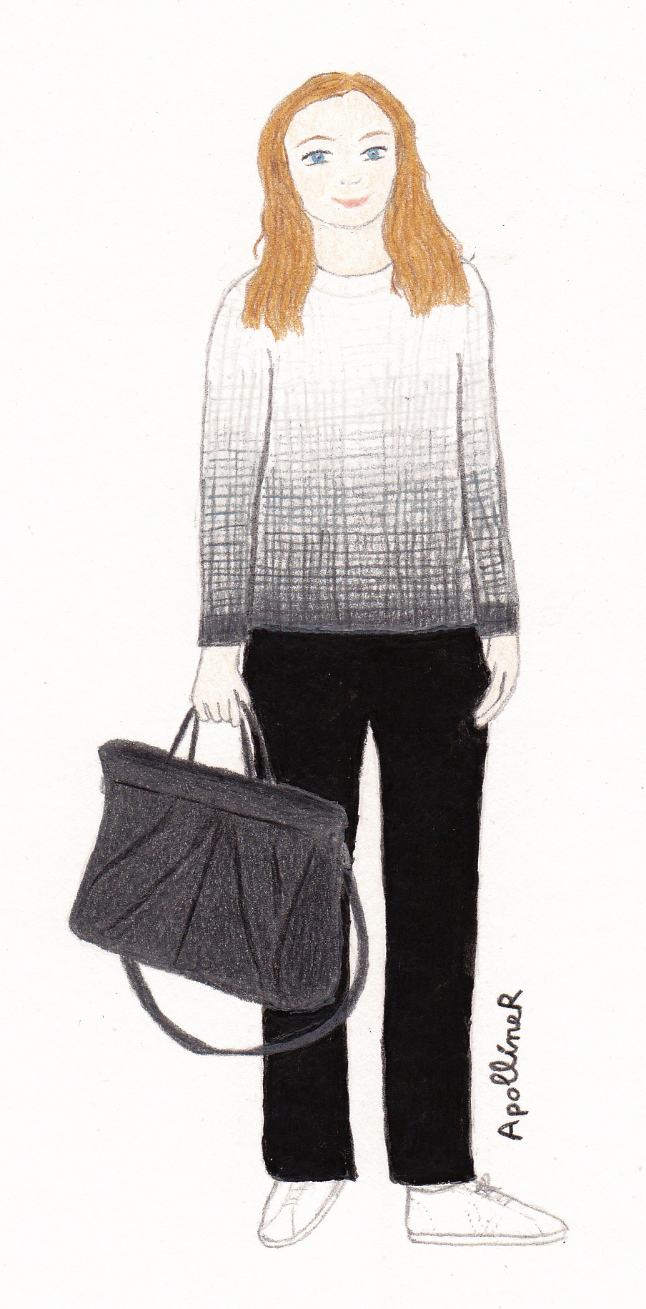 drawing of a woman wearing a shaded white to grey jumper, black trousers and white sneakers