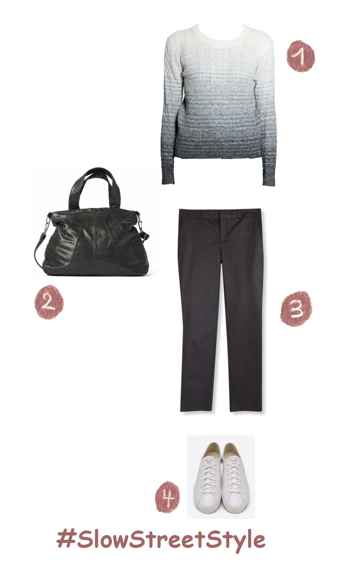 Slow streetstyle look: shaded white to grey jumper, black handbag, black trousers and white sneakers