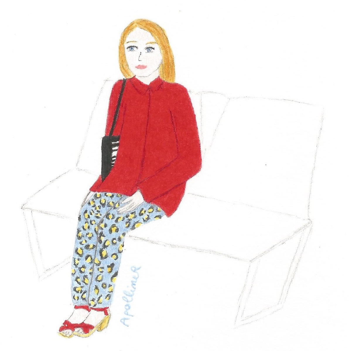 drawing of a girl wearing red peep toe clogs, a bright red jacket and blue leopard print trousers