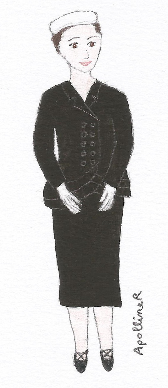 illustration of a black day suit by Balenciage. 1950 Spring-Summer collection