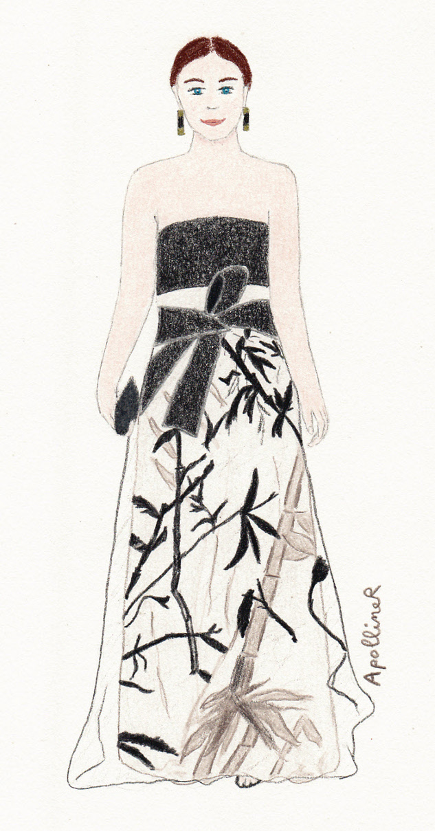 drawing of a woman wearing a black bustier and a beige skirt with a bamboo pattern from Armani Privé Couture 2015 Spring-Summer collection