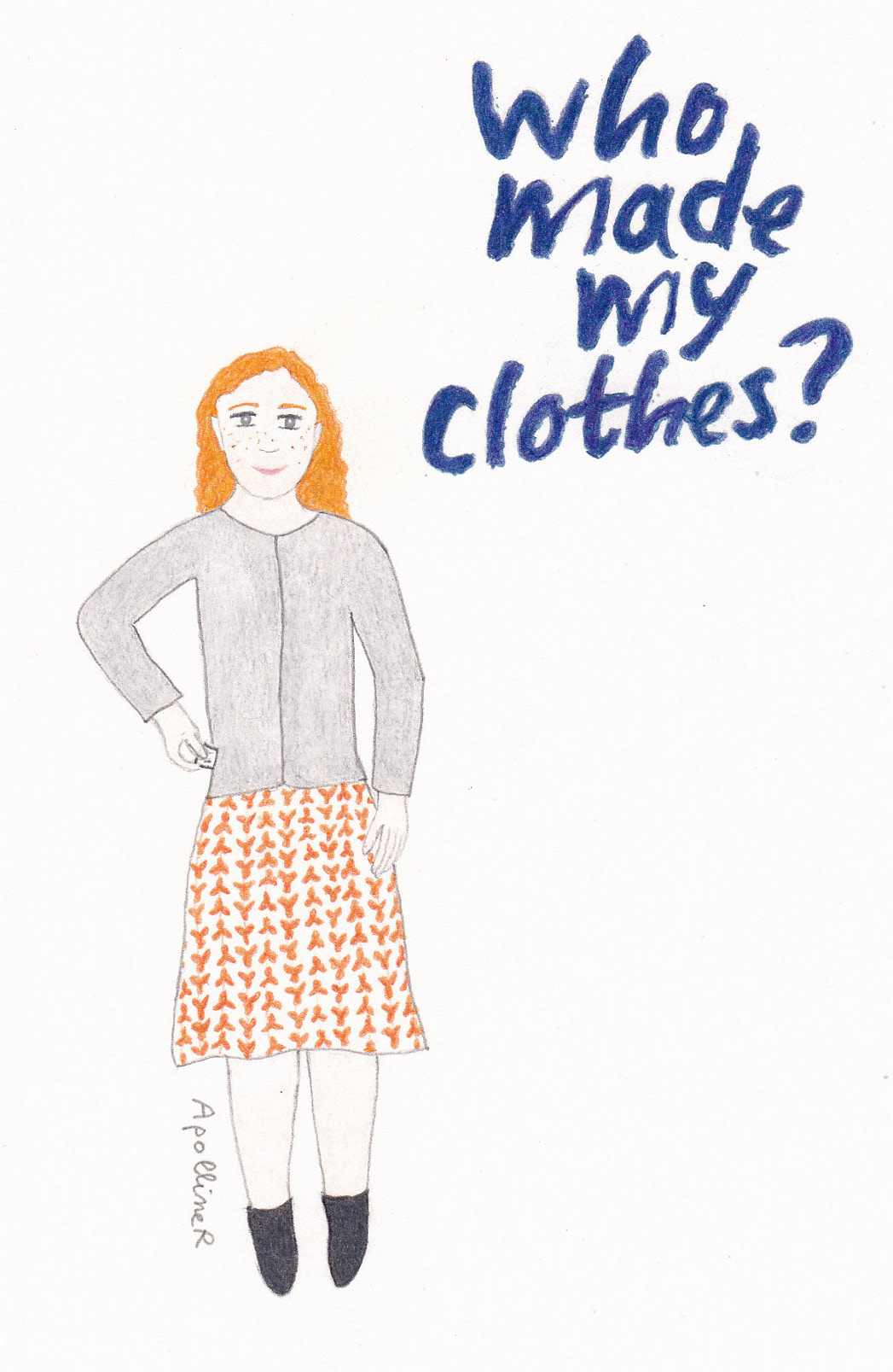 drawing of a woman wearing a printed dress and a cardigan inside out for Fashion Revolution Day