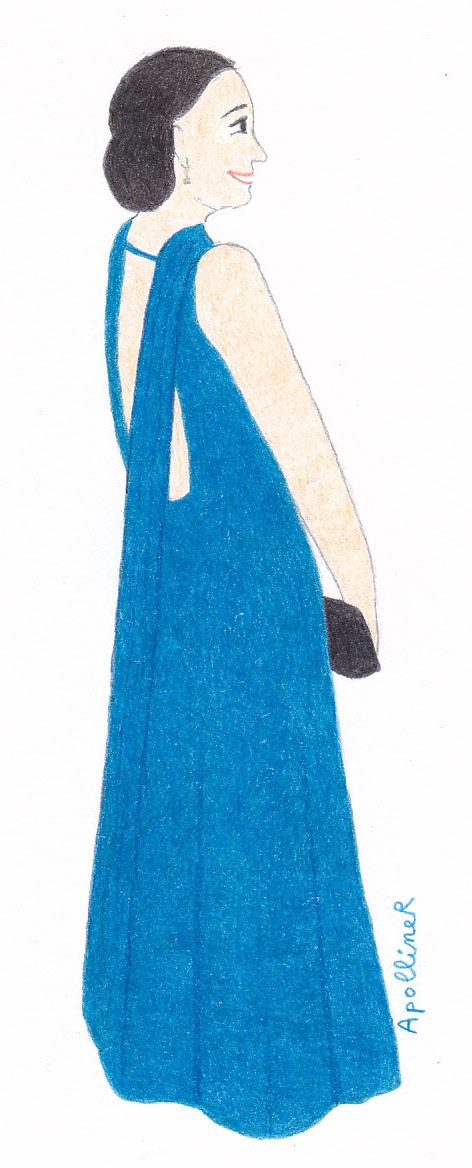 drawing of Gina Rodriguez wearing a backless cobalt blue long gown at the 2015 Academy Awards