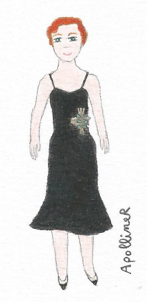 illustration of a Fifties black cocktail dress by Chanel