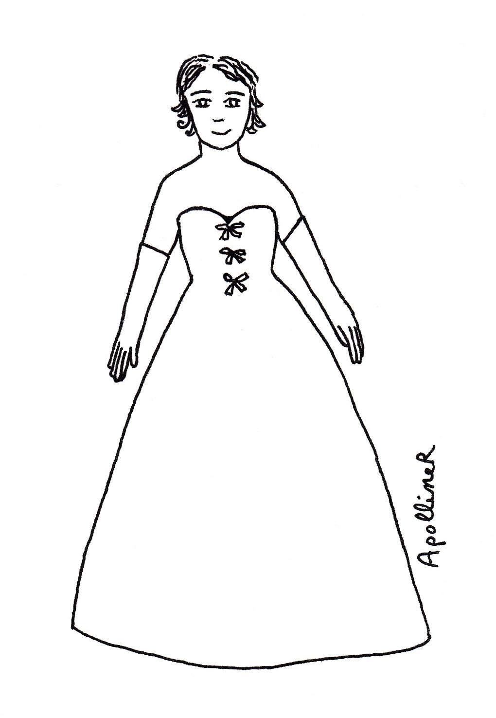 coloring picture of a woman wearing a Fifties evening gown by Christian Dior