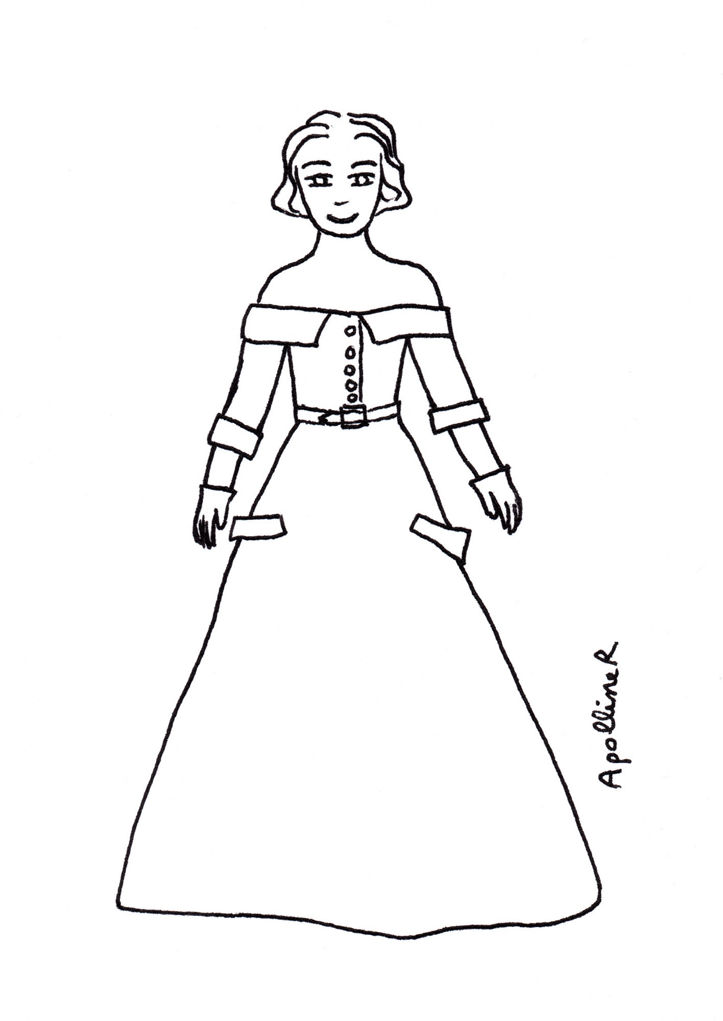 coloring picture of a woman wearing a Fifties evening gown by Jacques Fath