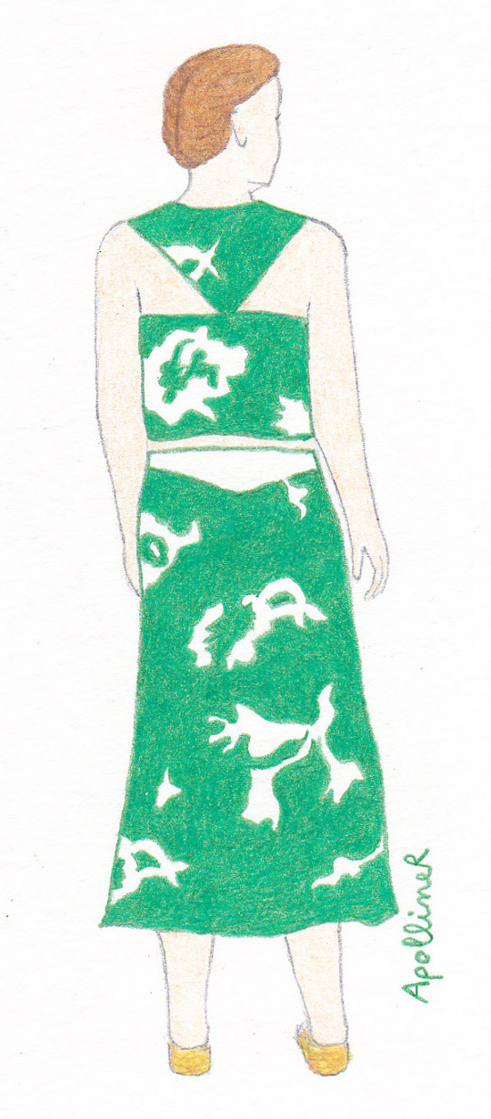 drawing of a woman wearing a green and white beach outfit by Grès
