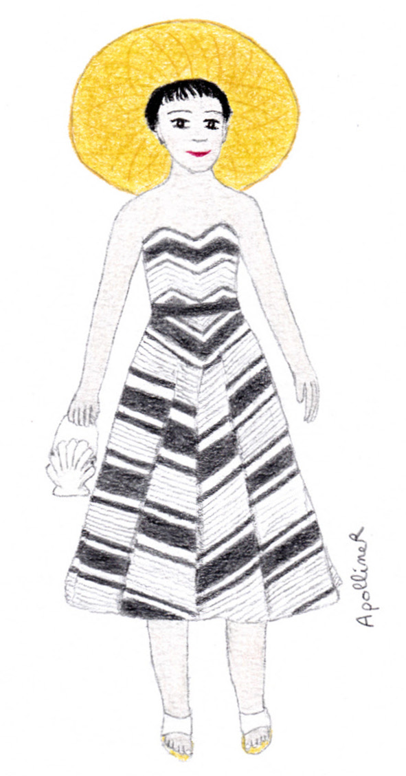 illustration of a woman wearing a Fifties white and grey striped beach dress by Lanvin-Castillo