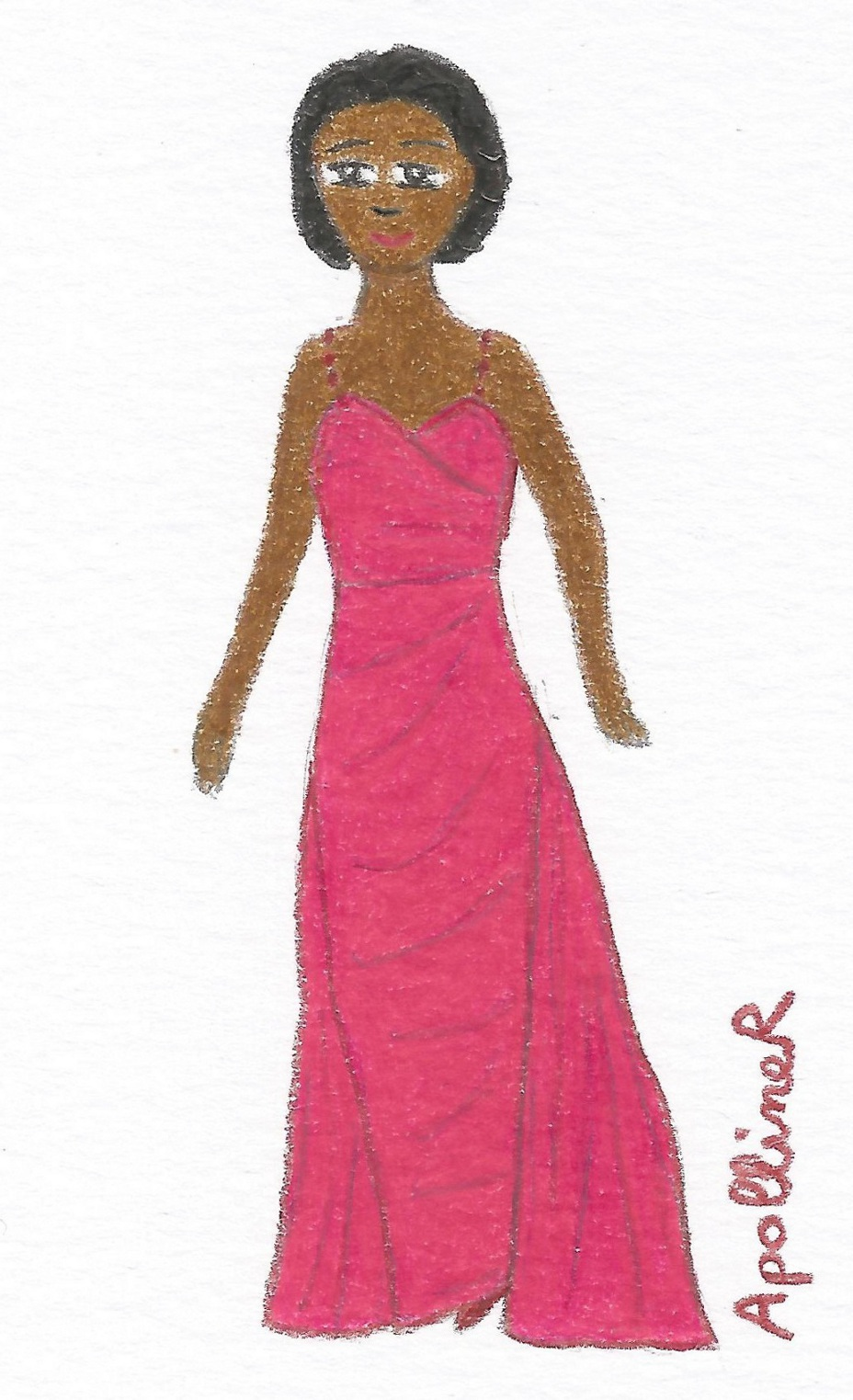 illustration of a Fifties fuchsia long evening dress by Jean Dessès