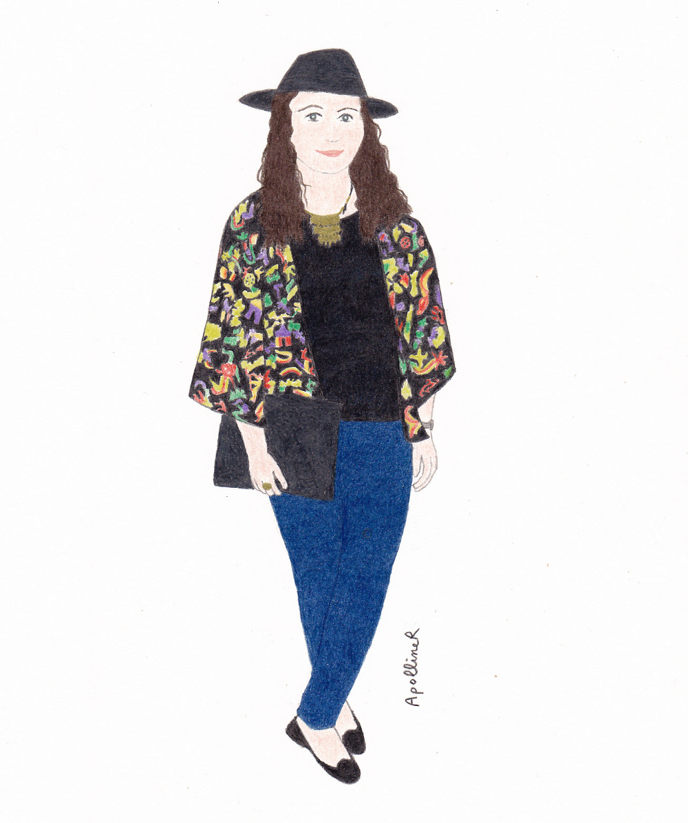 drawing of Ceri from Style Eyes blog wearing her favorite outfit