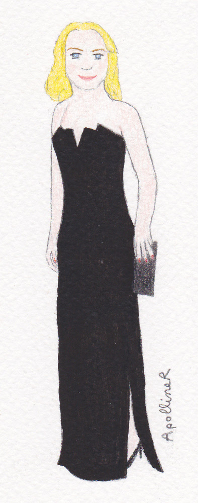 drawing of Mélanie Laurent wearing a long black strapless gown by Saint Laurent at the 2016 Cesars