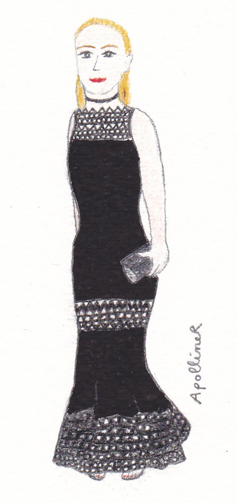 drawing of a woman wearing a long black dress with openwork patterns at the 2016 Cesars