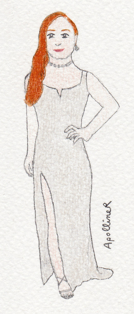 drawing of Sophie Turner wearing a crepe long grey dress ethically made by Galvan at the 2016 Academy Awards