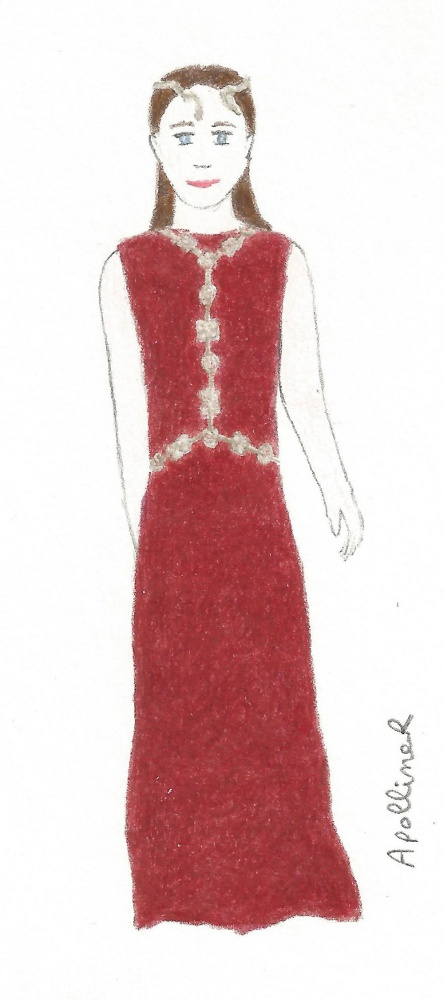 drawing of a woman wearing a long dark red dress with golden jewelry from Valentino Couture 2016 Spring-Summer collection