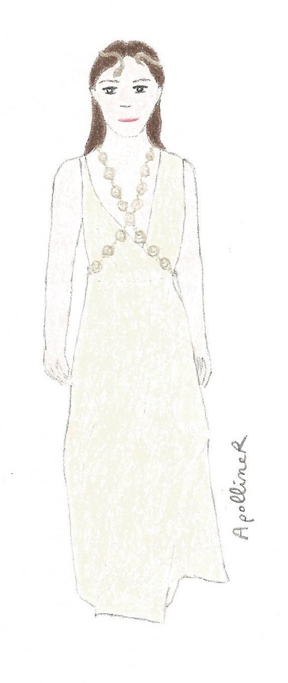 rawing of a woman wearing a long white dress with golden jewelry from Valentino Couture 2016 Spring-Summer collection