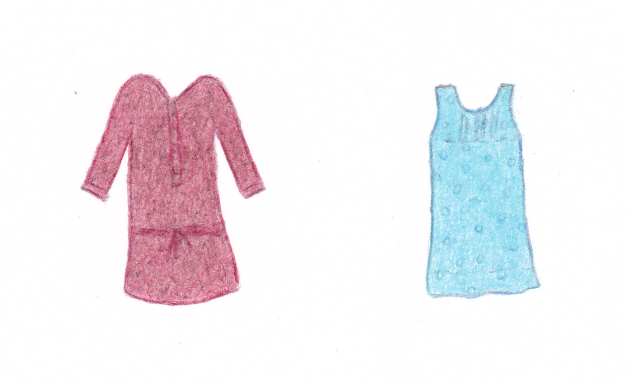 dessin de deux robes amples d'occasion