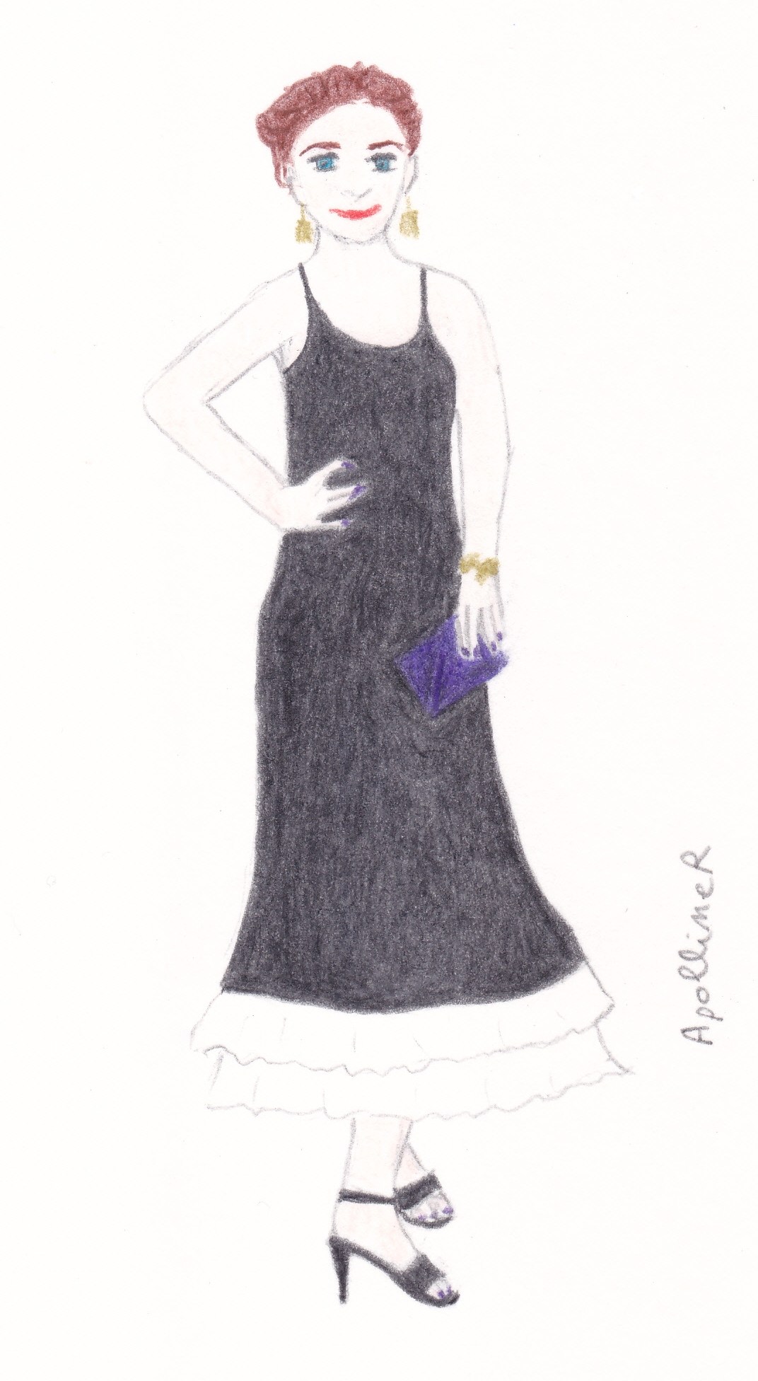 Drawing inspired by the vintage Dior dress worn by Emily Deschanel at the Academy Awards