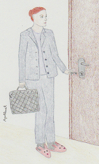 I'm not a morning person. Drawing of a half-asleep woman wearing a suit and slippers