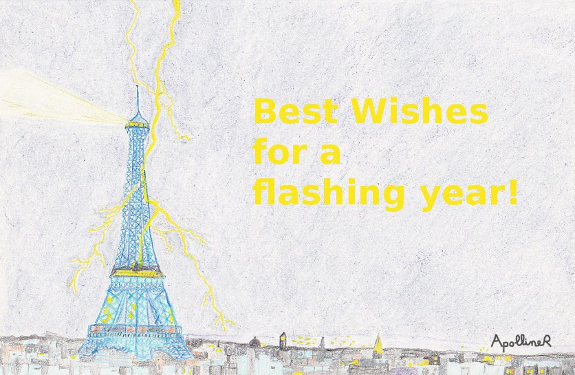 greetings card: drawing of the Eiffel Tower with a flash of lightning. Best wishes for a flashing year