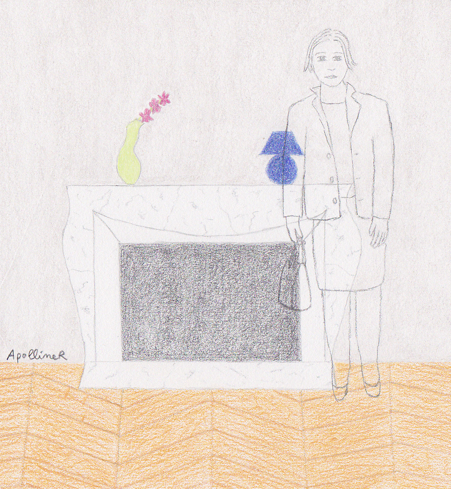 drawing of an invisible woman in front of a fireplace