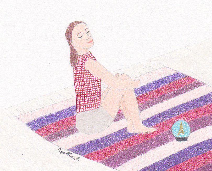 drawing of a sitting woman who tries to meditate while looking at a snow globe