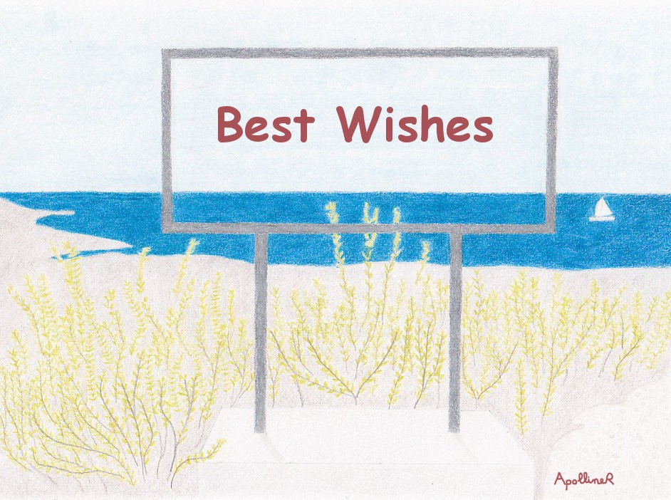 Best Wishes card illustrated with a sea landscape in Malta
