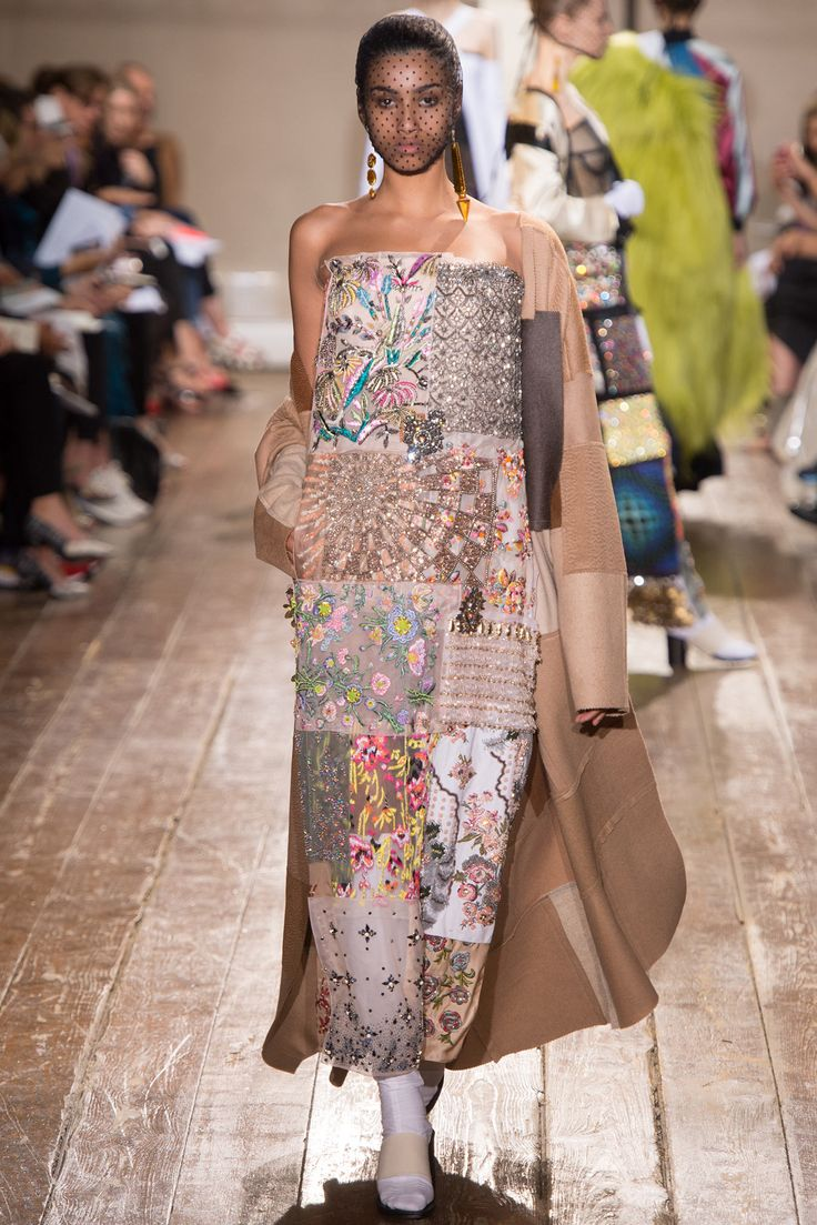 a patchwork dress at Maison Martin Margiela 2014-2015 Fall-Winter Couture Fashion Show