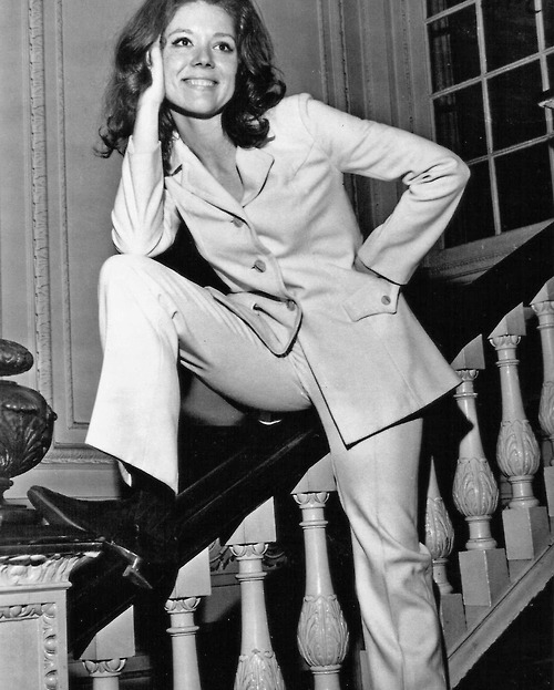 Diana Rigg wearing a pantsuit in the Sixties
