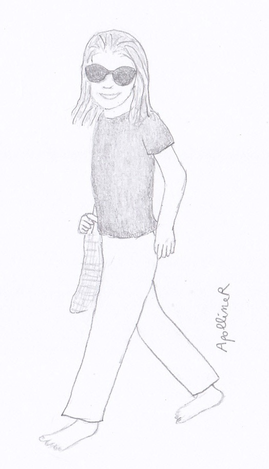 sketch inspired by a picture of Jackie Kennedy Onassis wearing a black T-shirt and white trousers in the seventies