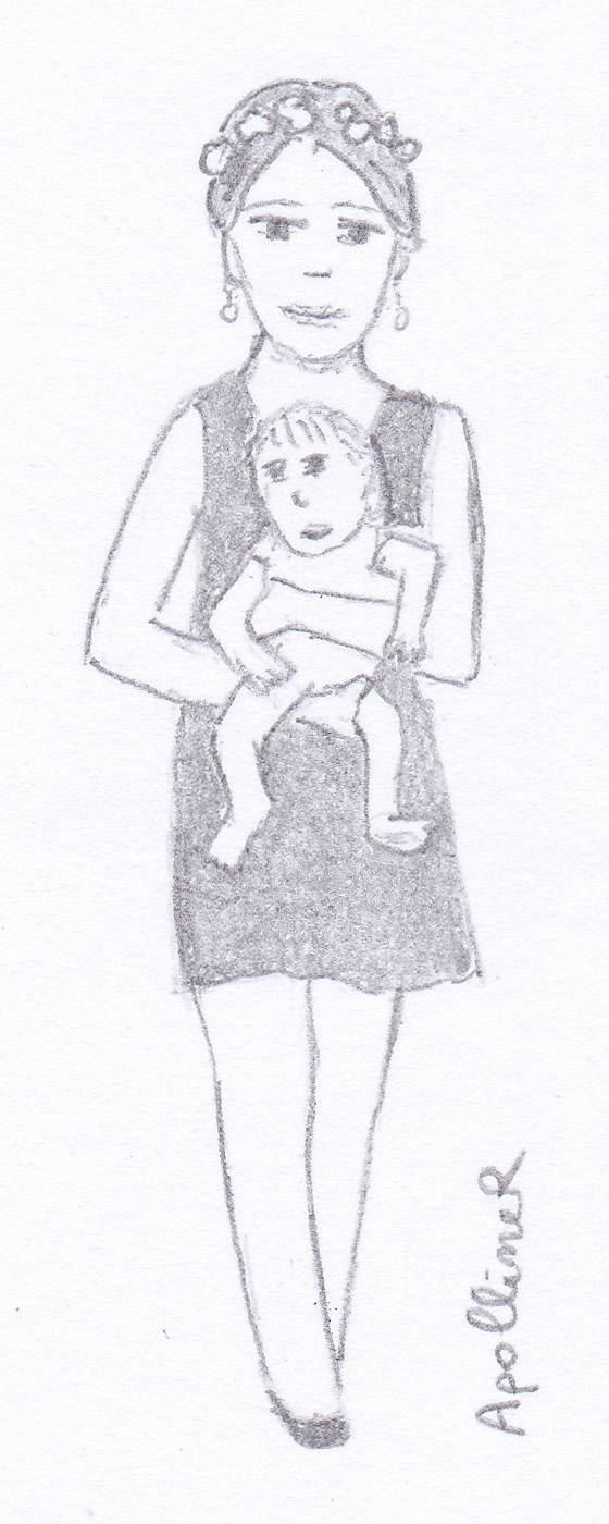 sketch of a model carrying a baby