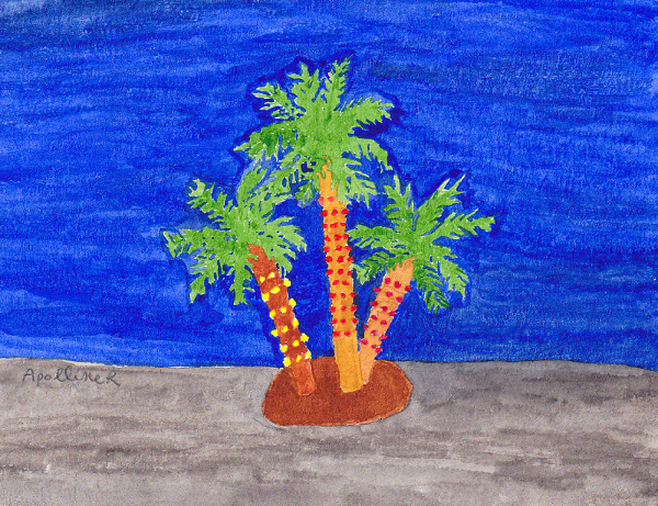 drawing of Christmas palm trees in Malta