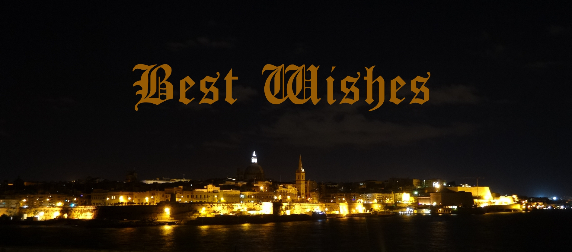Best Wishes card illustrated with picture of Valletta, Malta by night
