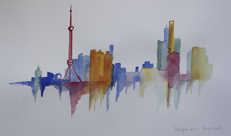 a watercolor of Shanghai skyline by Hélène Hurot