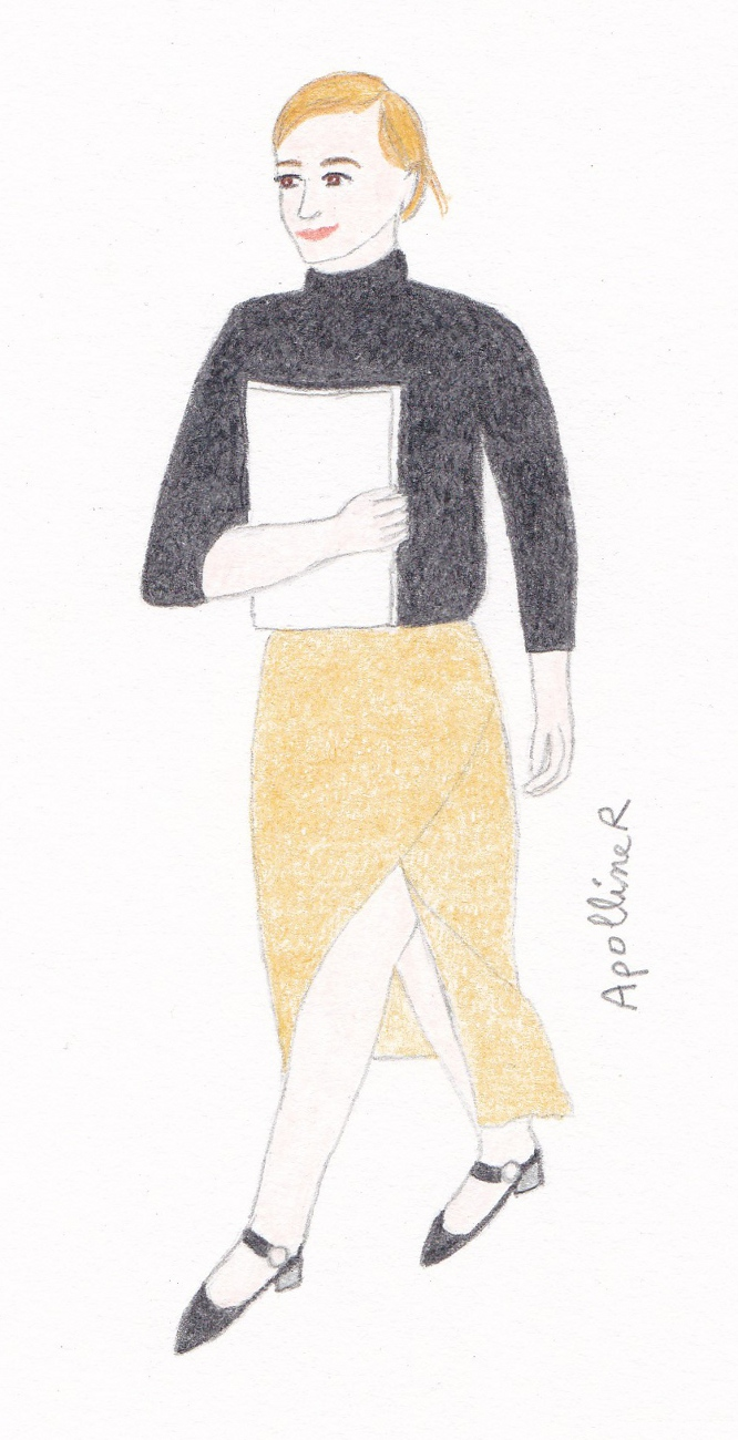 Drawing inspired by a picture of Emma Watson wearing a beige skirt and a black sweater from her capsule collection with Zady