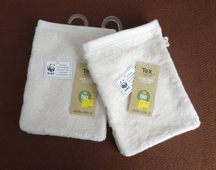 organic cotton face cloths by Tex Home for Carrefour