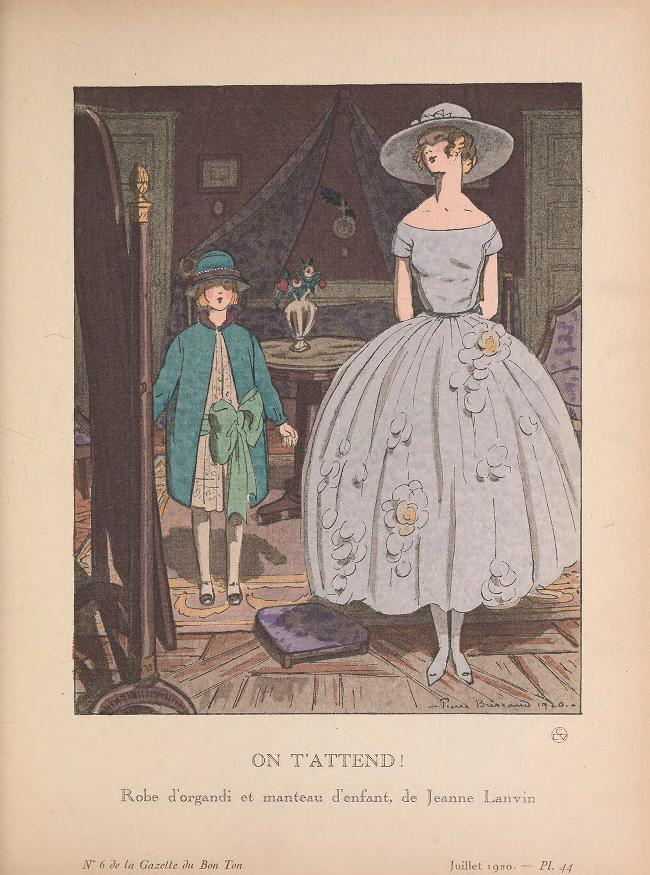 illustration by Pierre Brissaud  from July 1920 'la gazette du bon ton': a mother and her daughter wearing Jeanne Lanvin