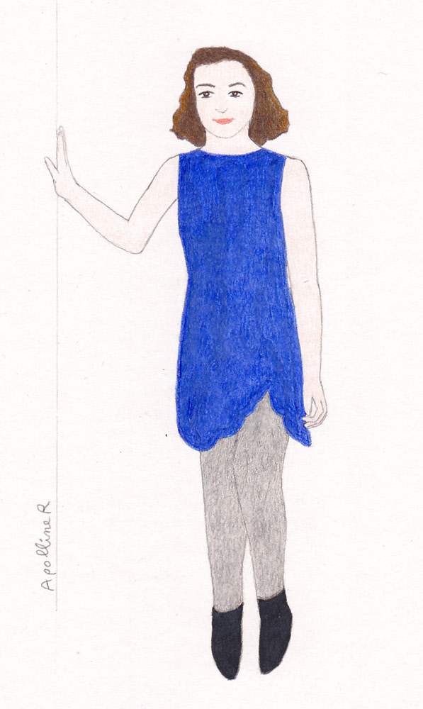 dessin inspiré d'une photo de Manon du blog Happy New Green en robe bleue Carven trouvée à l'Habibliothèque